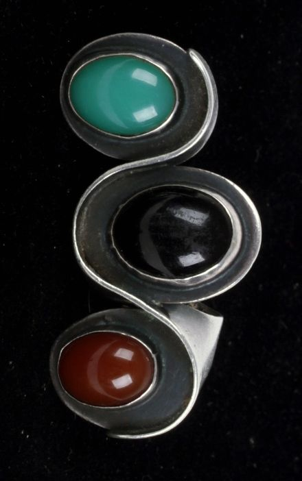 """Ring   Art Smith.  """"Undulation"""".  Silver with stones"""