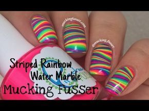 nail art tutorial - water marble arcobaleno
