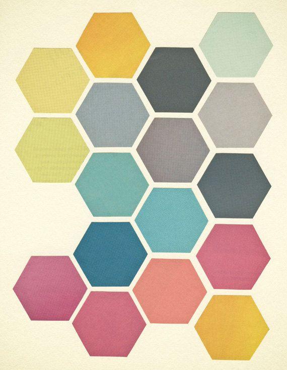 FREE SHIPPING Retro Wall Art, Geometric Art Print, Hexagon Pattern, Giclee Print - Honeycomb II