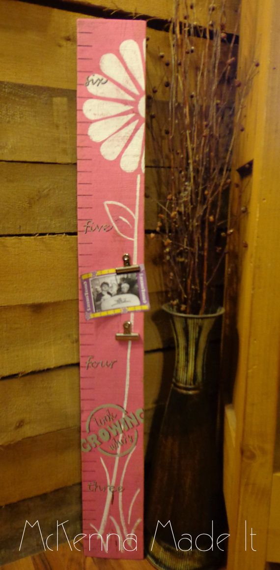 Wooden Growth Chart With Photo Clips Flower Growth Chart