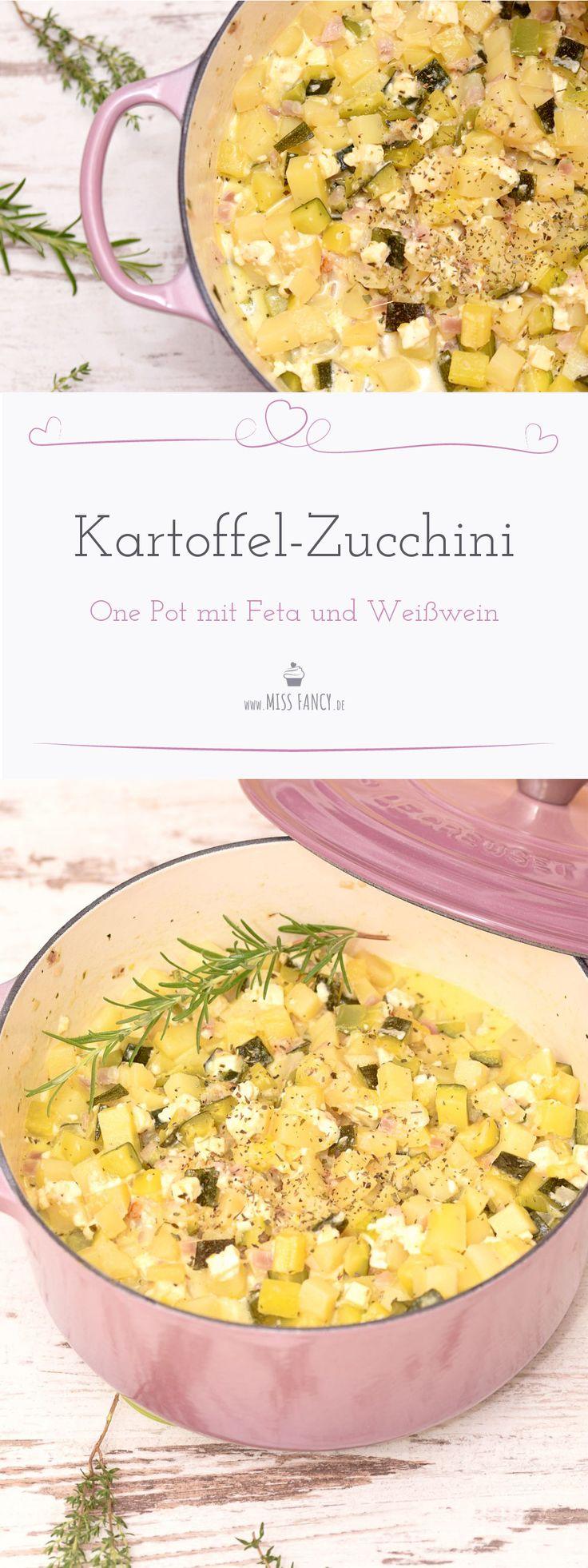 Ein vegetarisches Gericht für dich heute ist: Kartoffel Zucchini One Pot mit Feta und Kräutern.