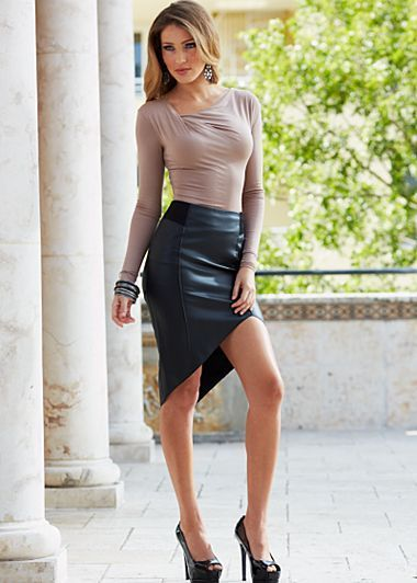 Angular cut asymmetrical faux leather skirt. | Leather fashions ...