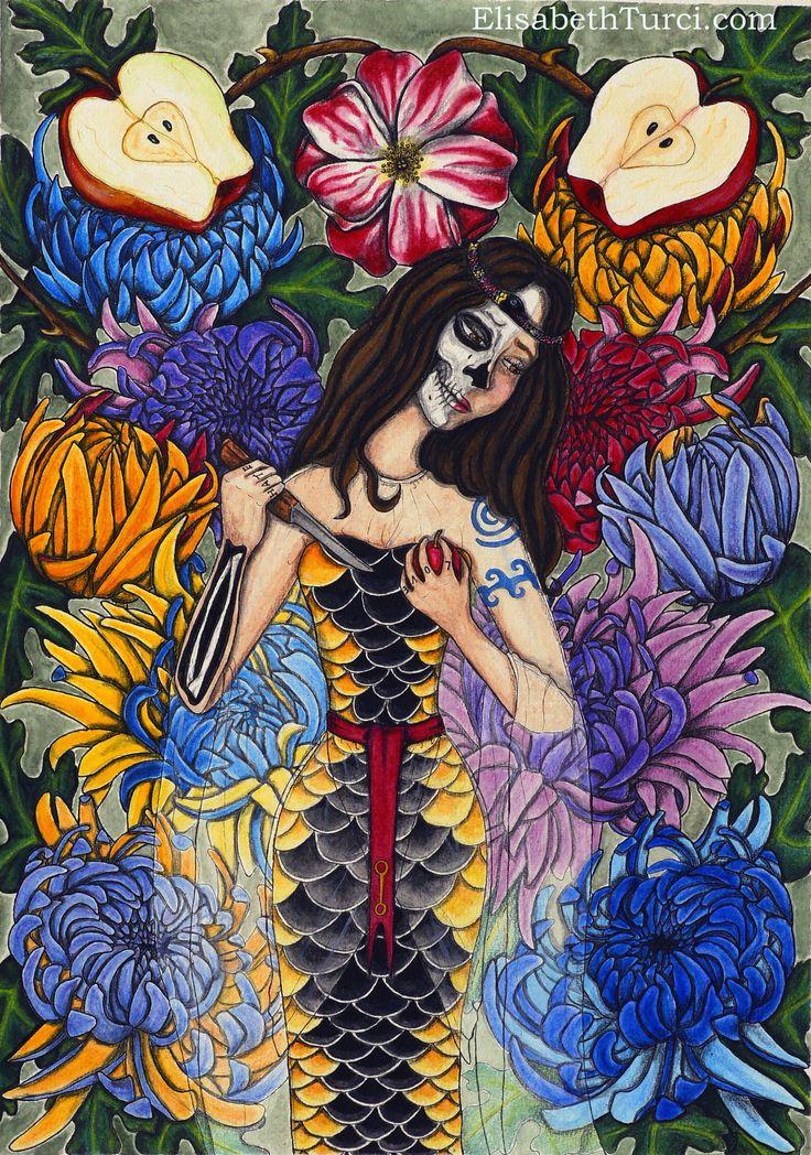 """Amore - Odio"" ,Watercolor and ink on paper, by Elisabeth Turci. #illustration #art #ink #inkonpaper #watercolor #painting #darksurrealism #popsurrealism #darkart #chrisanthemum #fingertattoo #love #hate #lovehate #apples #snakebite #symbolism #snake #snowwhite"