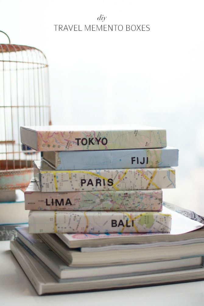 travel memento boxes - cover a box with a map to keep your travel memorabilia…