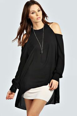 Isabelle Cut Out Shoulder Dipper Back Blouse at boohoo.com