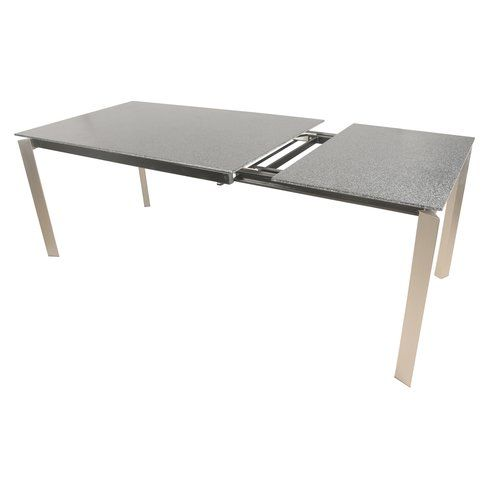 Leyland Dining Table W Ext Brushed Stainless Steel Legs Gray Stone