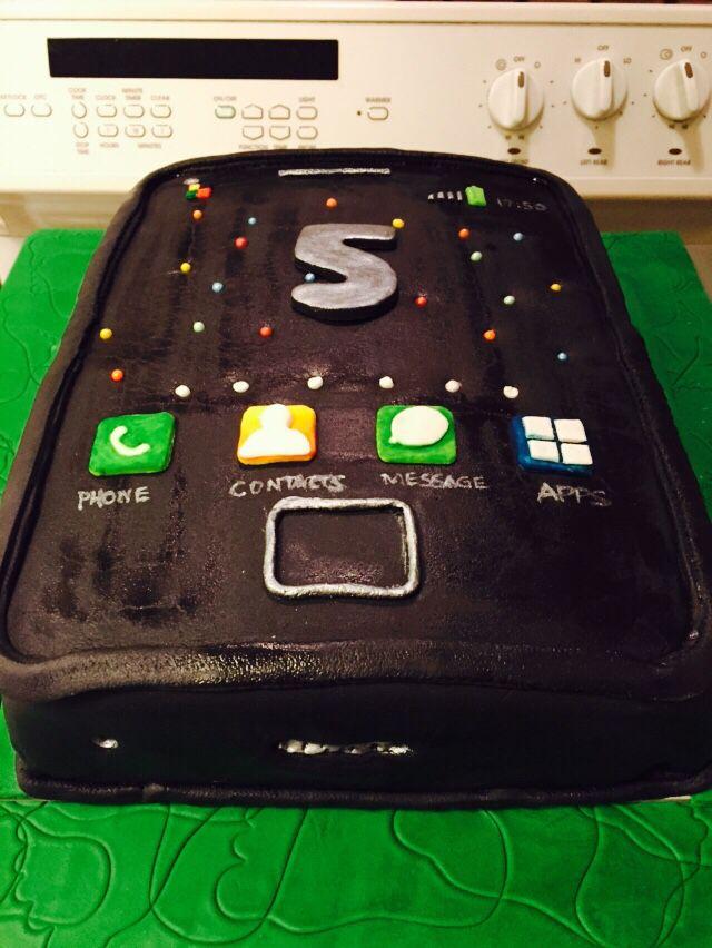 Cell phone cake 5th birthday
