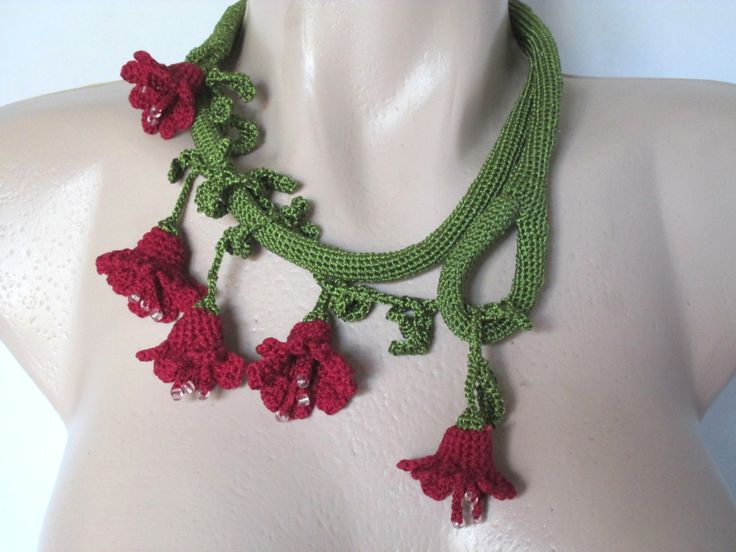 Crochet necklace scarf ,Crochet scarf Flowers,  Unique handmade Gift ideas For her,Crochet Lariat ,Flowers belt by AgathaBee on Etsy