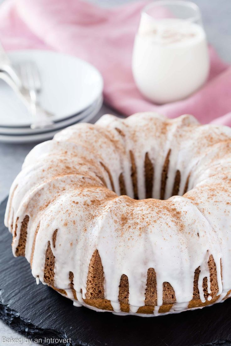 This Eggnog Cake is similar to a boozy spice cake. It's topped with a rum glaze and perfect for the holidays.