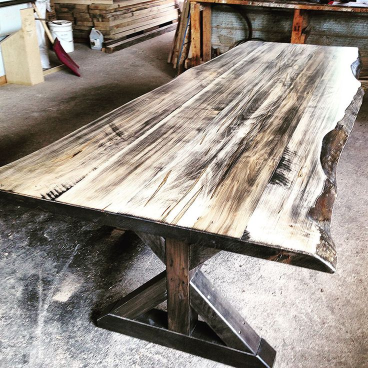 Wormy Maple Live Edge Harvest Table With An Ebony Wash Finish And An X  Trestle Style Base.