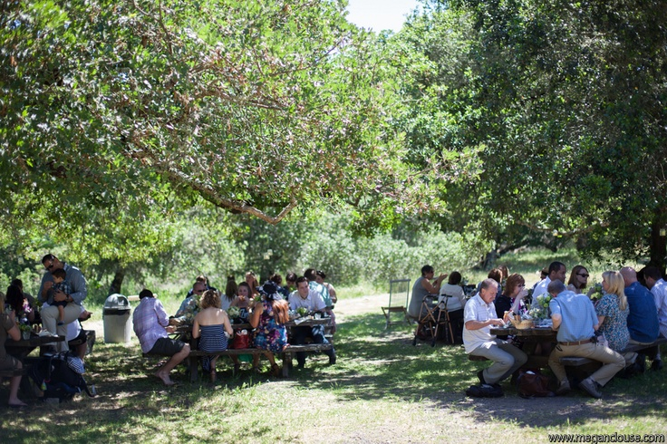 Casual and rustic picnic under the Oaks