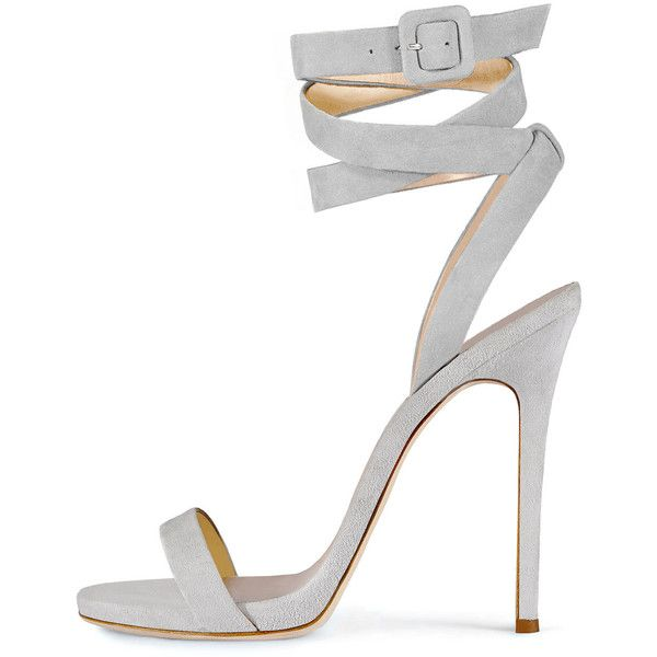 Giuseppe Zanotti For Jennifer Lopez Alien Suede Ankle-Wrap 120mm... ($795) ❤ liked on Polyvore featuring shoes, sandals, heels, grey, gray strappy sandals, suede sandals, grey heeled sandals, ankle tie sandals and thin strap sandals
