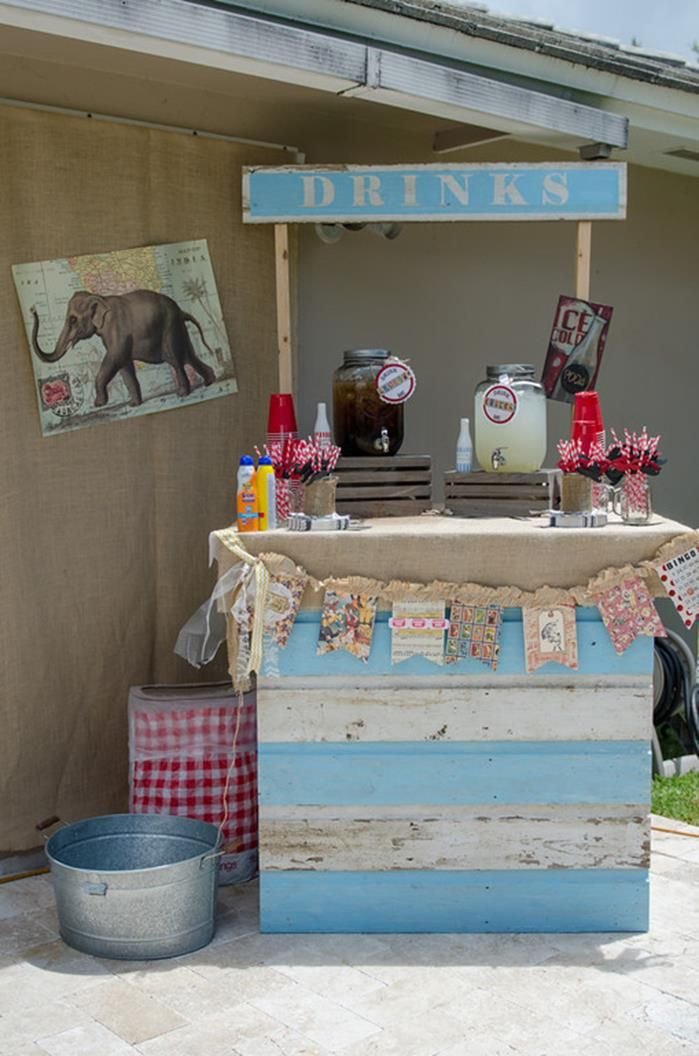 Drink station at a Vintage Carnival Party via Kara's Party Ideas  would make a cute cupcake stand too