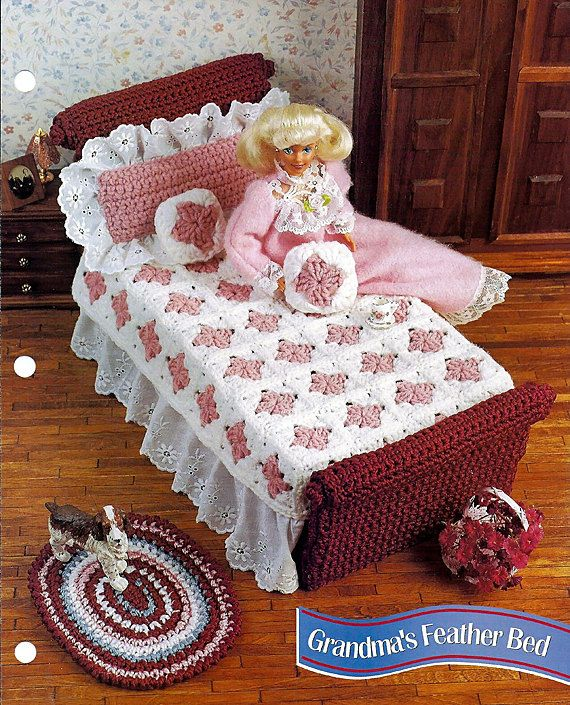 Grandma's Feather Bed  Barbie Furniture  by grammysyarngarden