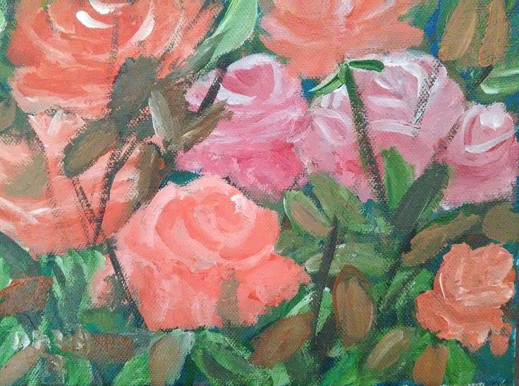 záhon ruží - akryl 23 x 18 cm