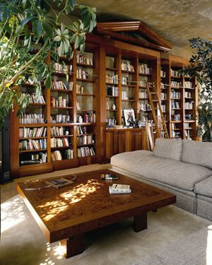 huge built-in bookcase high on style and functionality; love the looks of the greenery with the books
