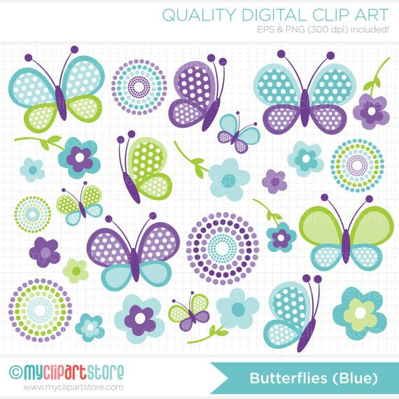 Clipart Combo Blue Butterflies / Spring Clip by MyClipArtStore
