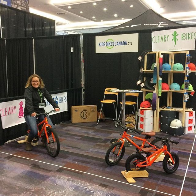 """Kids Bikes Canada is at the Vancouver Bike Show with Jeff! RepostBy @kidsbikescanada: """"Come by our booth at the @vanbikeshow to ride a @clearybikes"""""""