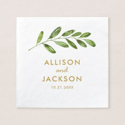 Greenery Watercolor Leaf Modern Wedding Napkin - gold wedding gifts customize marriage diy unique golden