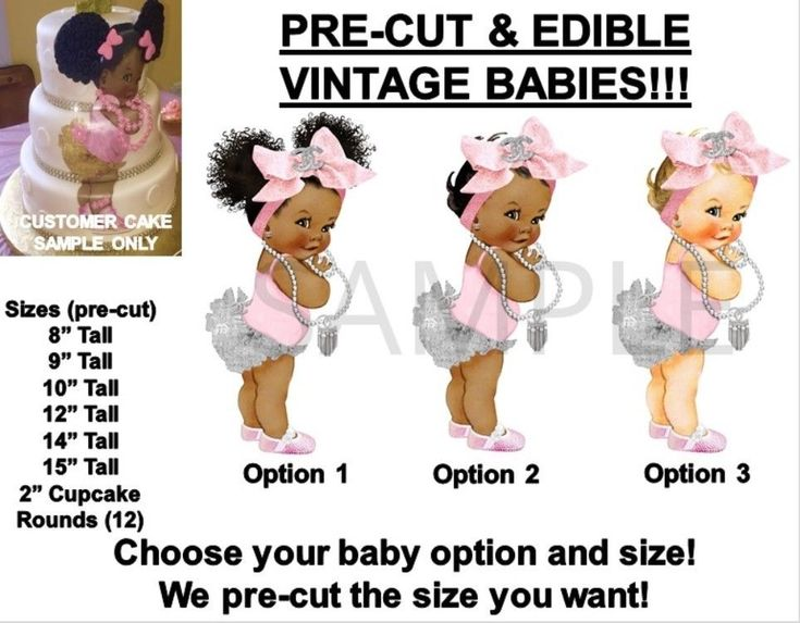 PRE-CUT Silver Ruffles Pink Head Bow Baby Girl EDIBLE Cake Topper Image Glamour #VintageBaby