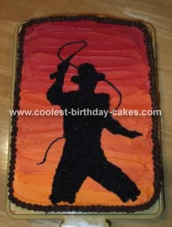 Indiana Jones Silhouette in the Sunset Cake: My son wanted to have the full picture and face of Indiana Jones.  I searched the web and couldn't come up with anything that I felt would do justice to