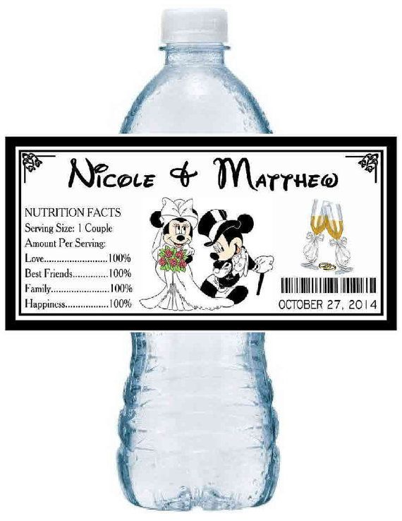 100 Disney MICKEY & MINNIE Mouse WEDDING party favors water bottle labels ~ glossy ~ waterproof ink ~ Free Shipping