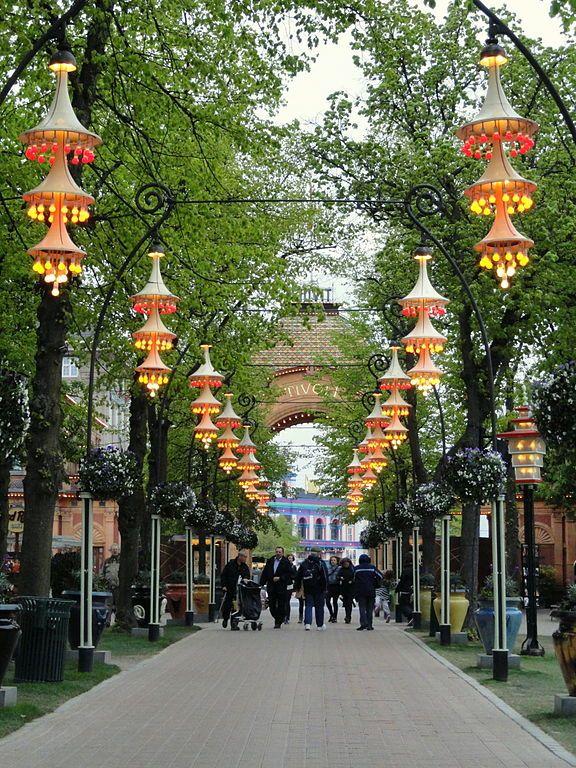 Garden lights at Tivoli gardens in Copenhagen, Denmark