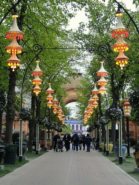Garden lights at Tivoli gardens in Copenhagen, Denmark