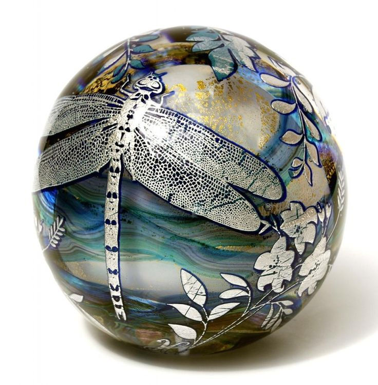 Jonathan Harris - Studio Glass, Paperweight, Graal Opal Dragonfly. Blown opal core internal decoaration of gold leaf & trails. cased cobalt & sterlng silver detail. 9.5cm diameter. Unique one of a kind.