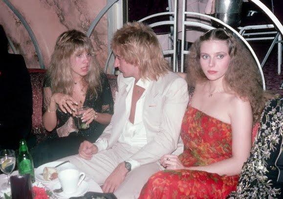 Stevie Nicks, Rod Stewart, and Bebe Buell, 1977.