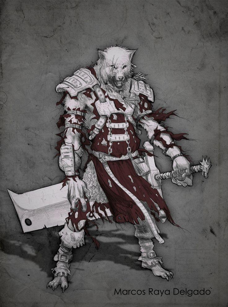 Fenris the werewolf + SKECHT, Marcos Raya Delgado on ArtStation at https://www.artstation.com/artwork/QGnbr