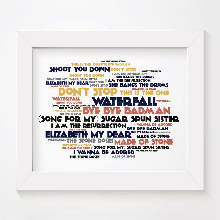 The Stone Roses Limited edition typography lyrics art print. Signed and numbered album wall art poster available from  www.lissomeartstudio.com