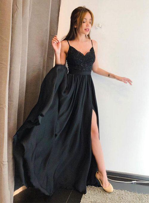 Spaghetti Straps Black Lace Long Prom Dresses  8a9d3e889e35