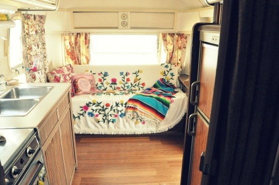 Funky airstream interior; light and bright
