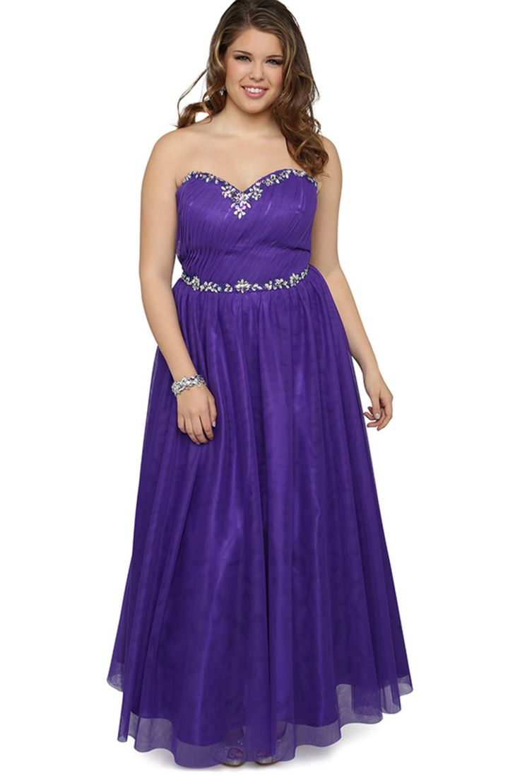 Plus Size Sweetheart Long Prom Dress With Stone Neckline And Soft Skirt Tulle