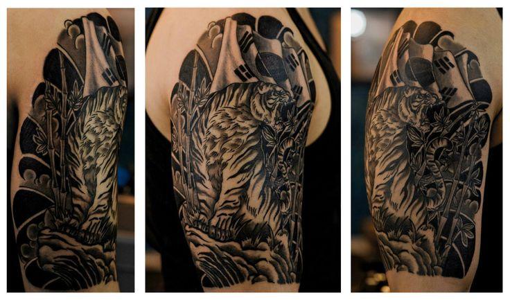Nick Hart Tattoo Portfolio - tiger korean flag
