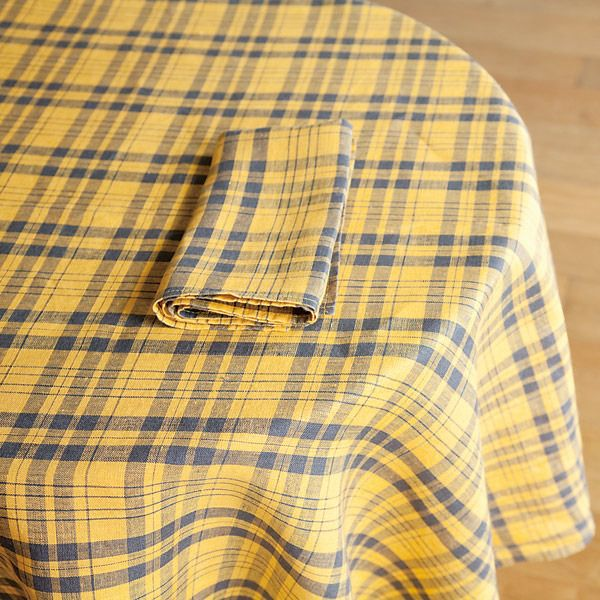 Shop Fog Linen Tablecloth Yellow Plaid Table Linen