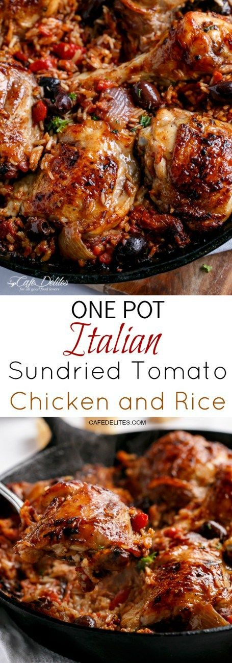 One Pot Italian Sundried Tomato Chicken and Rice | http://cafedelites.com