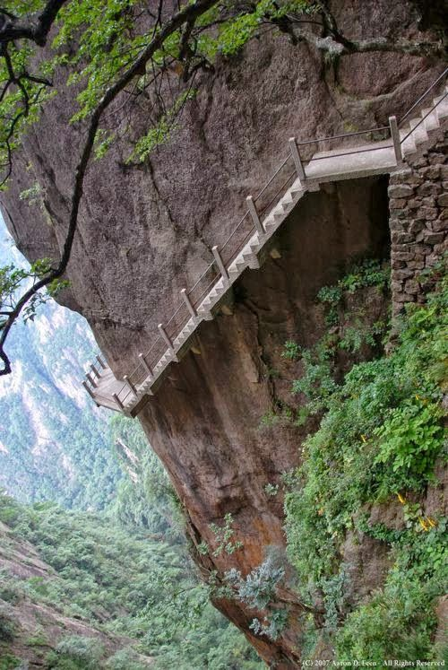 Cliff Path, Huangshan Mountain, China >>> yowsers! Could you walk this path? I'd love to but I'd be holding my breath the entire way!!! What I really want to know is how did they build it??