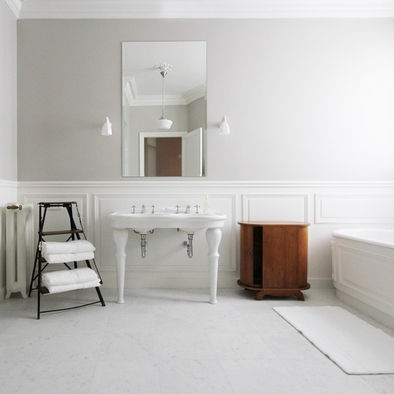 Farrow and Ball Cornforth white panelling: