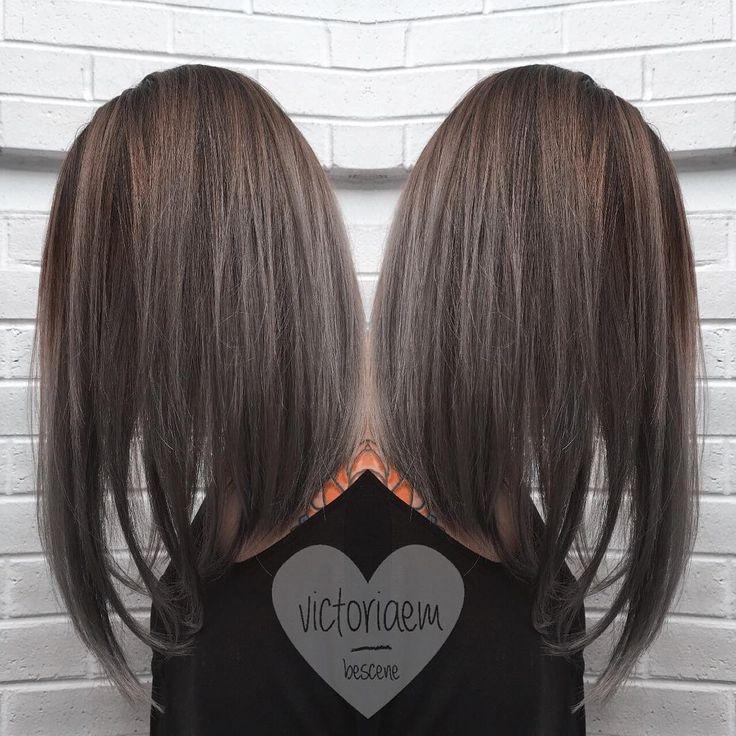 Brown Base In To A Smokey Grey Hair Balayage Hair