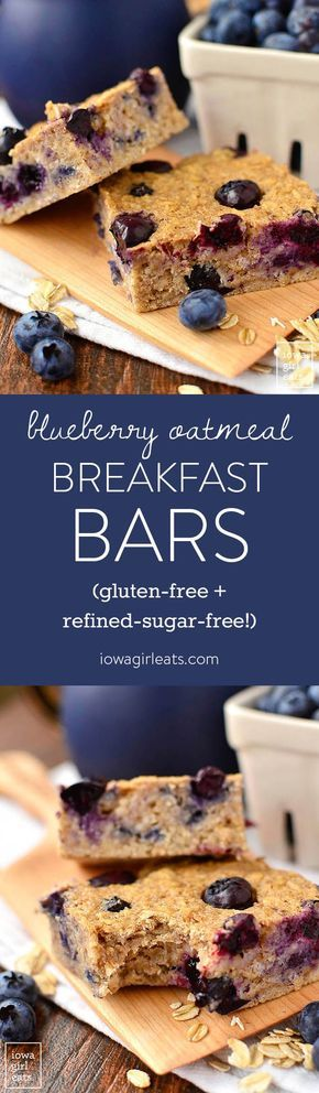 Blueberry Oatmeal Breakfast Bars are a healthy bowl of oatmeal in bar form! Keep these refined-sugar-free and gluten-free breakfast bars on hand for a healthy, on-the-go breakfast or snack option. | iowagirleats.com