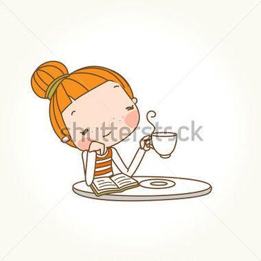 Una ragazza avere una tazza di caffè
