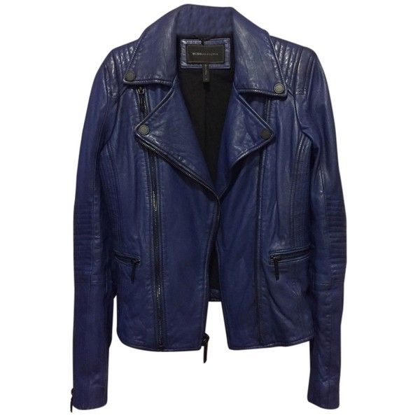 Pre-owned Bcbgmaxazria Cobolt Blue Leather Jacket ($329) ❤ liked on Polyvore featuring outerwear, jackets, cobolt blue, bcbgmaxazria, blue leather jacket, 100 leather jacket, blue jackets and real leather jacket