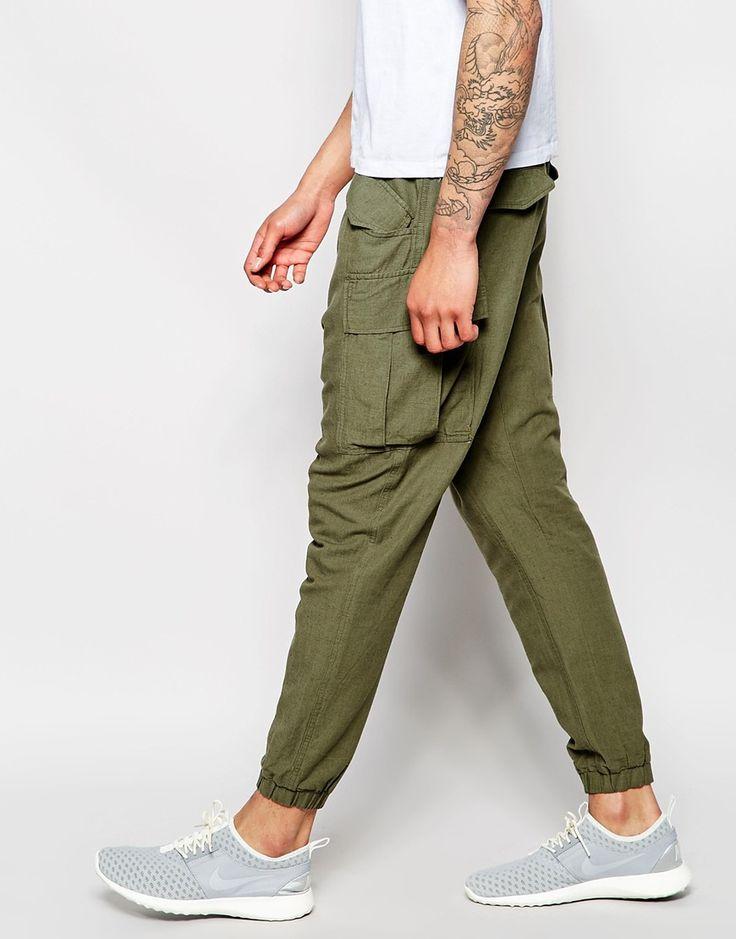 Image 4 ofASOS Slim Drop Crotch Joggers In Khaki Textured Fabric
