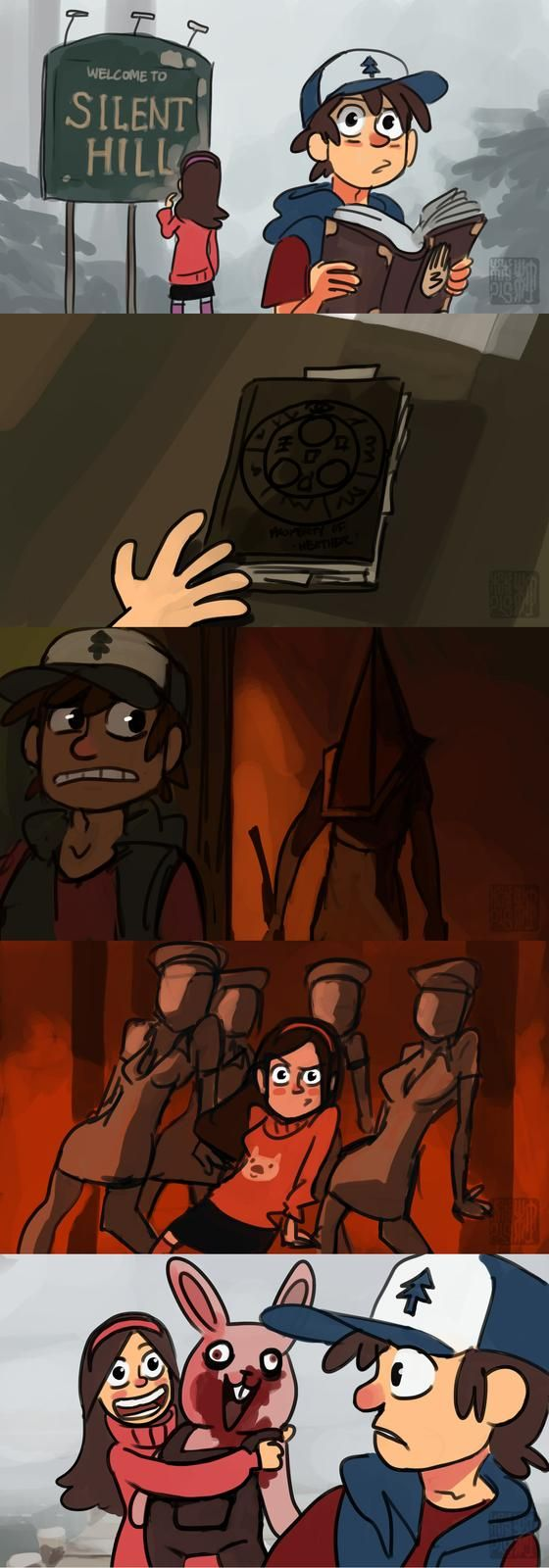 Silent Hill & Gravity Falls. Possibly might be the best crossover ever.