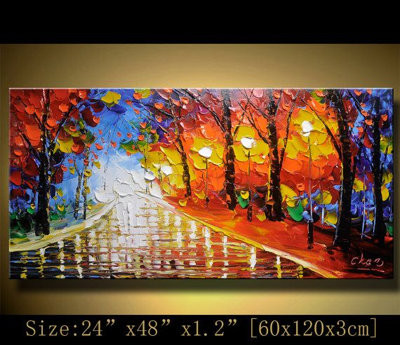 Original Palette Knife Abstract Painting,Modern Textured Painting,Landscape Painting Park Lights Oil on Canvas, by Chen n030 via Etsy