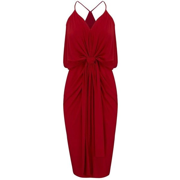 MISA Los Angeles Domino Spaghetti Strap Dress - Red ($305) ❤ liked on Polyvore featuring dresses, red, v-neck dresses, red dress, metallic cocktail dress, spaghetti strap cocktail dress and v neck dress