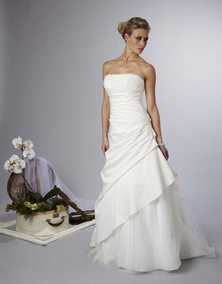 Ruffled criss cross wedding gown