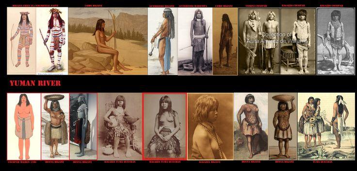 Nella terra degli Yuman gli inverni sono miti e le estati torride. L'abbigliamento succinto era quindi una necessità climatica. Le donne portavano dei doppi grembiuli a frange di corteccia, mente gli uomini sfoggiavano dei perizomi i cui risvolti pendevano di più sul retro che sul davanti. Non si usavano i mocassini ma si faceva uso di sandali. Per proteggersi dal freddo facevano uso di mantelli-coperta di fettucce di pelliccia (normalmente di coniglio) intrecciate.